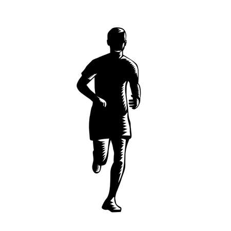 Woodcut illustration of a silhouette marathon runner running viewed from front on isolated background done in retro black and white style.
