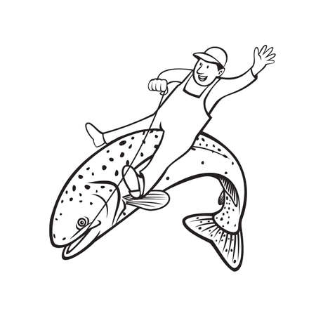 Retro stencil style illustration of trout fisherman riding a steelhead, rainbow trout, Oncorhynchus mykiss, Columbia River redband trout, coastal rainbow trout on isolated background black and white.