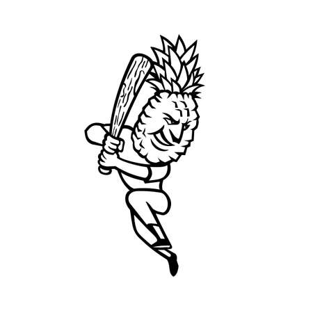Mascot black and white illustration of a pineapple batting with baseball bat viewed from side on isolated background in retro style.  イラスト・ベクター素材