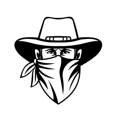 Mascot black and white illustration of head of a cowboy, bandit, outlaw, maverick, highwayman or bank robber wearing face mask or bandana viewed from front in retro style. Vetores