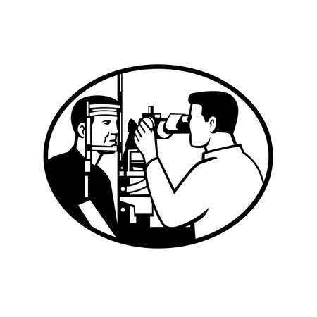 Retro style illustration of a patient and optician or optometrist with auto refractometer eye test equipment testing or scanning for eye test exam set in oval isolated background in black and white.
