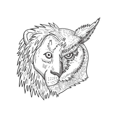 Black and white drawing sketch style illustration of a head of lion with mane on one half and great horned owl, tiger owl or the hoot owl on the other side viewed from front on isolated background.