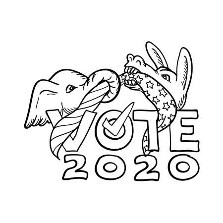 Cartoon style illustration of a Republican elephant and Democratic donkey in tug-o-war with USA stars and stripes flag with words Vote 2020 on isolated background done in black and white.