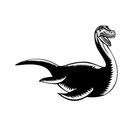 Retro woodcut style illustration of a Loch Ness Monster or Nessie, a cryptid in cryptozoology and Scottish folklore that inhabit the Scottish Highlands on isolated background done in black and white