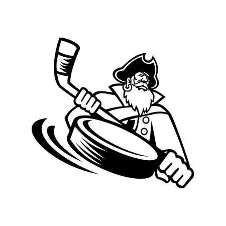 Mascot illustration of a swashbuckler, pirate, privateer or corsair with wice hockey stick and puck viewed from front on isolated background in retro black and white style.