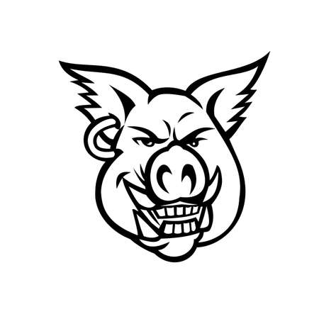 Mascot black and white illustration of head of a pink wild pig, boar or hog wearing an earring smiling grinning viewed from front on isolated background in retro style.