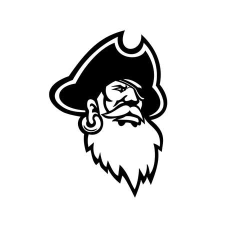 Black and white Mascot illustration of head of a buccaneer, swashbuckler, pirate, privateer or corsair with red beard viewed from front on isolated background in retro style.