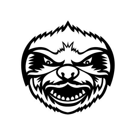 Mascot black and white illustration of head of an angry Sloth, an arboreal mammal in the tropical rainforests of South America and Central America viewed from front on isolated background in retro style.