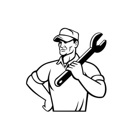 Illustration of an automotive mechanic or aircraft, electrical mechanic holding a spanner or wrench with arms crossed looking to side on isolated background done in retro black and white style.