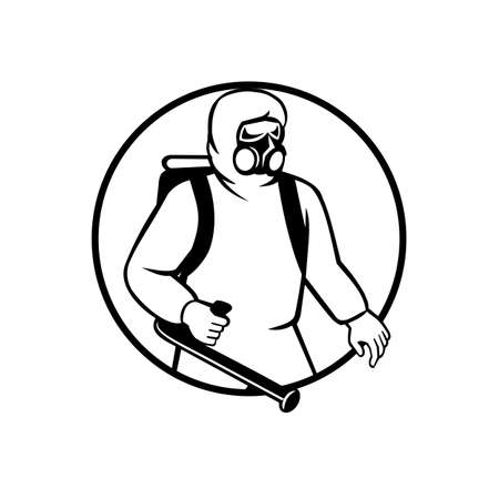 Black and white illustration of an industrial worker, healthcare, essential or pest exterminator wearing respiratory protective equipment, fumigating spraying disinfectant set in circle retro style. 일러스트