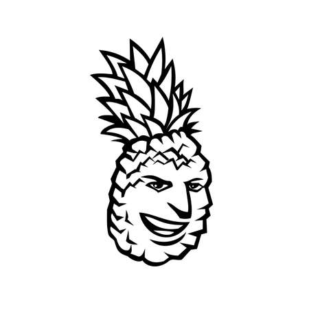 Mascot illustration of a pineapple fruit or Ananas comosus, a tropical plant with edible fruit in family Bromeliaceae, happy, smiling, grinning on isolated background in retro black and white style.  イラスト・ベクター素材