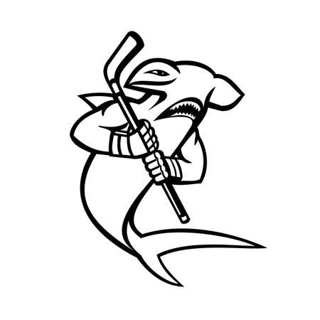 Black and White Mascot illustration of a hammerhead shark who is a ice hockey player wielding a hockey stick viewed from side on isolated background in retro style.