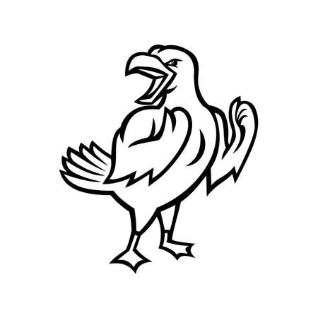 Black and white Mascot illustration of an angry yellow-legged gull or seagull, a medium to large seabird, preparing for a fight viewed from side on isolated background in retro style.