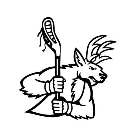 Mascot black and white illustration of a stag deer or buck wielding a lacrosse stick viewed from side on isolated background in retro style.