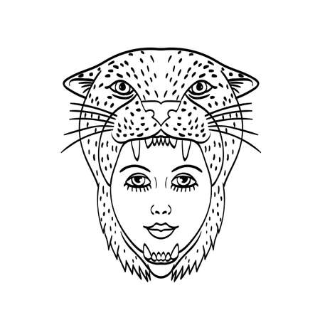 Tattoo style illustration of head of an Amazon warrior wearing a jaguar headdress viewed from front done in black and white.