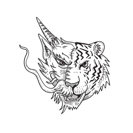 Drawing sketch style illustration of a head of a half Chinese dragon half Bengal tiger viewed from front on isolated white background done in black and white.