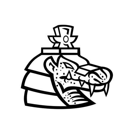 Mascot black and white illustration of head of Sobek, Sebek, Sochet, Sobk or Sobki, an ancient Egyptian deity depicted as a human with a Nile or West African crocodile head on isolated background in retro style.