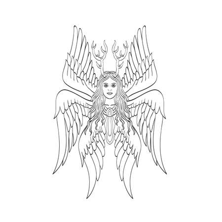 Tattoo style illustration of seraph or seraphim, a six-winged fiery angel with six wings and deer antlers viewed from front done in black and white.