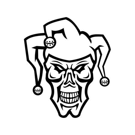 Mascot black and white illustration of head of a court jester, joker, fool,story-teller or minstrel skull viewed from front on isolated background in retro style.