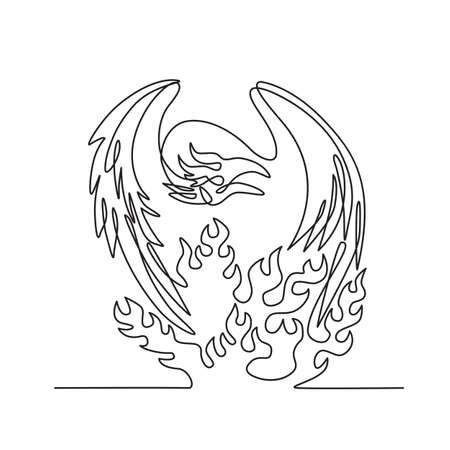 Continuous line drawing illustration of a phoenix, a mythological bird that cyclically regenerates or is otherwise born again, on fire  front view done in sketch or doodle black and white style. 向量圖像