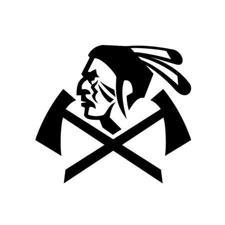 Mascot black and white illustration of head of a Native American Indian warrior with feathers and crossed tomahawk or hatchet viewed from side on isolated background in retro style.