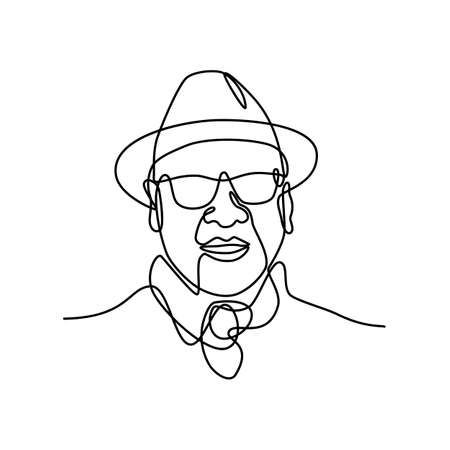Continuous line drawing illustration head of of an Asian man or gentleman wearing a fedora hat and sunglasses viewed from front  done in sketch or doodle style.