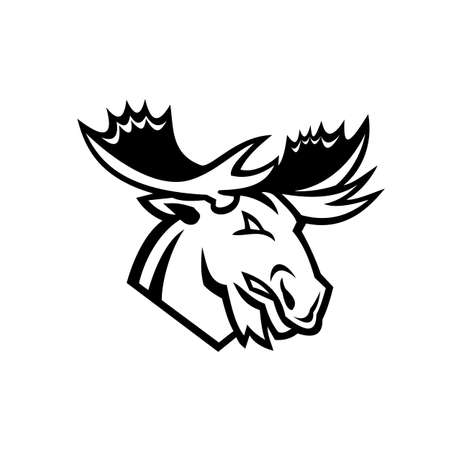 Black and white mascot illustration of head of a red angry moose or elk looking to side on isolated background in retro style.
