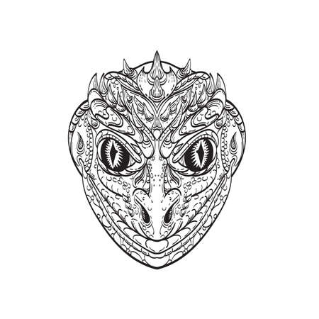 Line art drawing illustration head of a reptilian humanoid or anthropomorphic reptile, legendary creature in myth and folklore part human part lizard done in monoline tattoo style black and white.