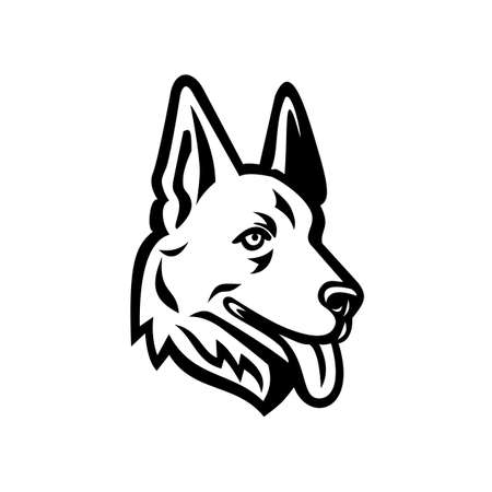 Mascot illustration of head of a German Shepherd or Alsatian wolf dog viewed from side on isolated background in retro black and white style. 向量圖像
