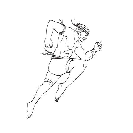 Tattoo style illustration of a Muay Thai or Thai boxing fighter, a combat sport of Thailand that uses stand-up striking, jumping striking with knee viewed from side done in black and white.