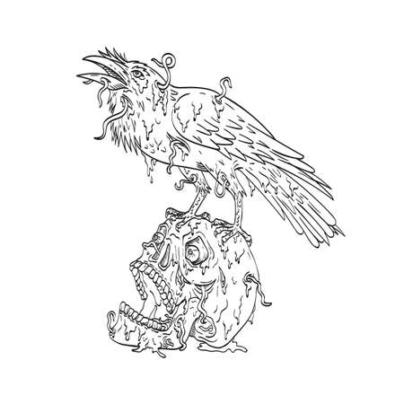 Line art drawing illustration of a raven perching on top of human skull that is dripping with earthworm or borrowing worm done in monoline tattoo style black and white.