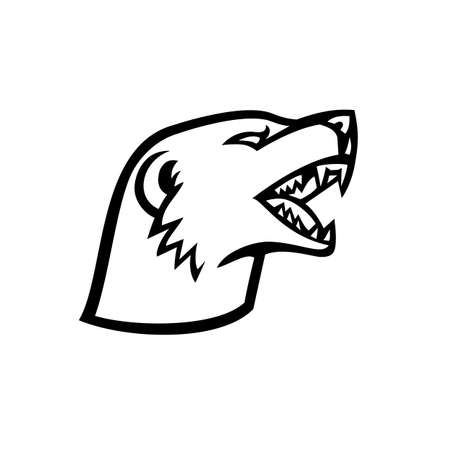 Mascot illustration of head of an angry aggressive slender mongoose Galerella sanguinea, black-tipped mongoose or the black-tailed mongoose side on isolated background in retro black and white style.