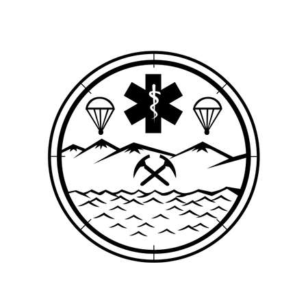 Mascot icon illustration of  land, sea and air rescue showing star of life EMT symbol with Rod of Asclepius in the center with crossed pick axes, parachute set in circle in black and white.