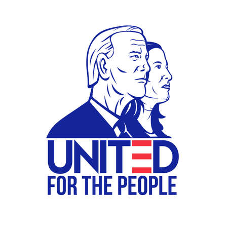 Nov 9, 2020, AUCKLAND, NEW ZEALAND: Illustration of 46th American president and vice president  Democrat Joe Biden and Kamala Harris viewed from side with words United For the People done retro style. 新聞圖片