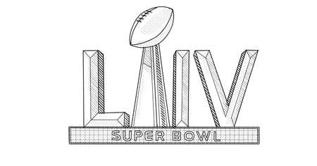 Line art illustration of the logo of Super Bowl LV or Super Bowl 55, the 55th Super Bowl and the 51st modern-era National Football League championship game for 2020 NFL season in line drawing style.