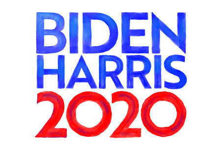 Aug 25, 2020, AUCKLAND, NEW ZEALAND: Watercolor illustration of American president and vice president candidate for US election Democrat Joe Biden and Kamala Harris ticket with words Biden Harris 2020. 新聞圖片