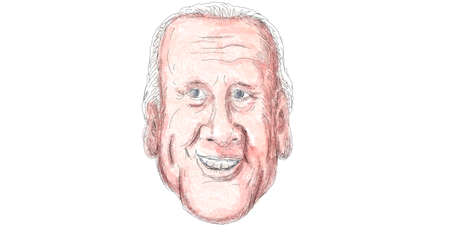 Nov 22, 2020, AUCKLAND, NEW ZEALAND: Caricature illustration of head of American 46th president elect of the United States Democrat Joe Biden smiling front view done in cartoon style in full color.