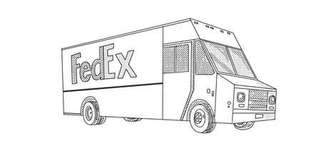 Line art illustration of FedEx delivery van viewed from side on low angle done in line drawing style with halftone dots on white background.