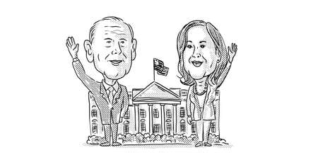 Nov 21, 2020, AUCKLAND, NEW ZEALAND: Illustration of American 46th president elect Democrat Joe Biden and vice president Kamala Harris in front of White House waving done in cartoon caricature style.