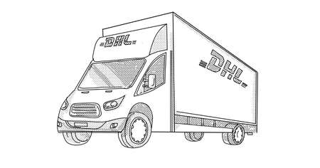 Line art illustration of DHL delivery van viewed from side on low angle done in line drawing style with halftone dots on white background.