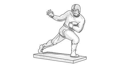 Line art illustration of the Heisman Memorial Trophy which is awarded annually to the most outstanding player in NCAA football done in line drawing style with halftone dots on white background.