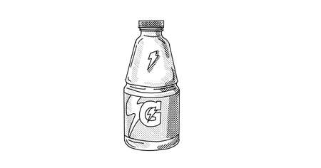 Line art illustration of a Gatorade sports drink bottle done in line drawing style with halftone dots on white background. 新聞圖片