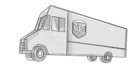 Line art illustration of UPS delivery van viewed from side on low angle done in line drawing style with halftone dots on white background.