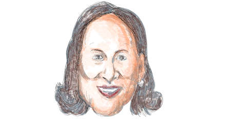 Nov 21, 2020, AUCKLAND, NEW ZEALAND: Caricature illustration of American vice president elect of the United States Democrat  Kamala Devi Harris smiling viewed from front done in cartoon in full color.