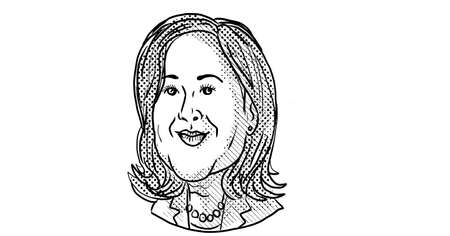 Nov 21, 2020, AUCKLAND, NEW ZEALAND: Caricature illustration of American vice president elect of the United States Democrat  Kamala Devi Harris smiling viewed from front done in cartoon black and white.