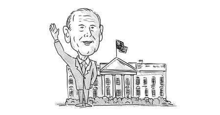 Nov 22, 2020, AUCKLAND, NEW ZEALAND: Caricature illustration of American 46th president elect Democrat Joe Biden waving in front of White House done in cartoon black and white style. 新聞圖片