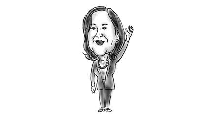 Nov 21, 2020, AUCKLAND, NEW ZEALAND: Illustration of American vice president elect Democrat  Kamala Devi Harris waving viewed from done in cartoon caricature black and white style.