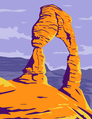 WPA poster art of the Delicate Arch, a freestanding natural arch located in Arches National Park, Moab Grand County Utah United States done in works project administration or federal art project style.