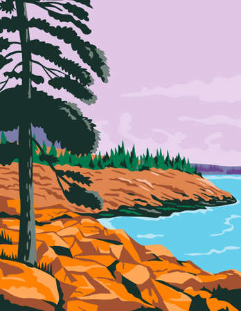 WPA poster art of Acadia National Park, an American national park located in state of Maine, southwest of Bar Harbor, United States done in works project administration or federal art project style.