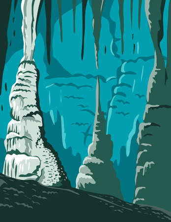 WPA poster art of the Carlsbad Caverns National Park, a show cave or commercial  cave in Guadalupe Mountains New Mexico United States done in works project administration or federal art project style.